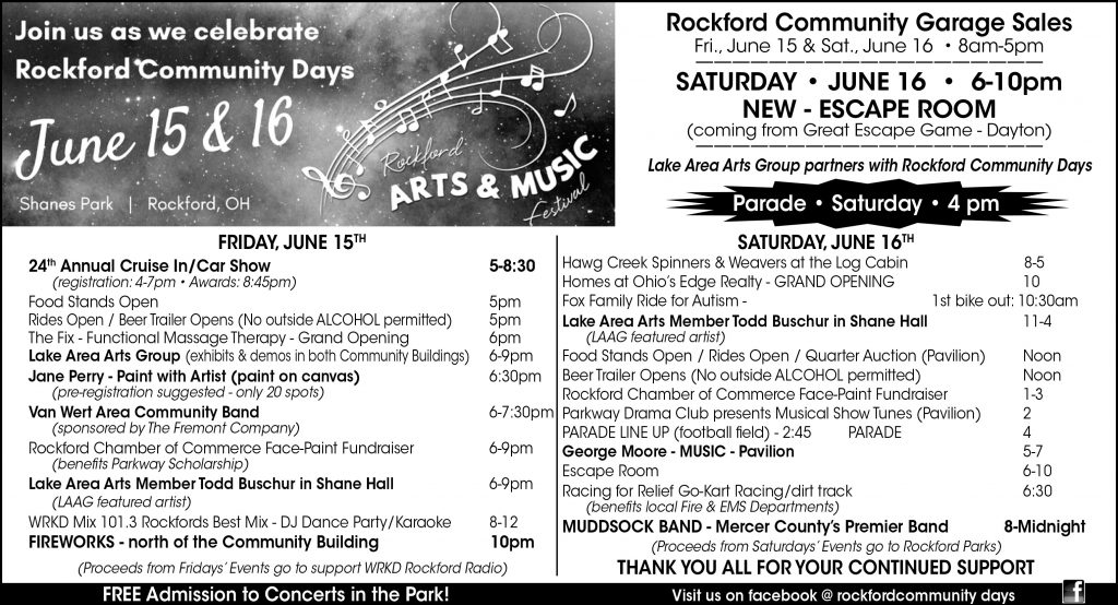 2018 Rockford Community Days Schedule